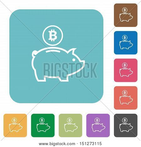 Flat Bitcoin piggy bank icons on rounded square color backgrounds.