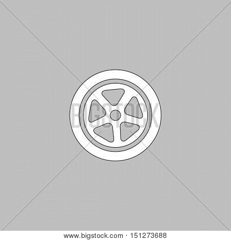 wheel Simple line vector button. Thin line illustration icon. White outline symbol on grey background