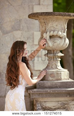 Attractive Bride Woman Wedding Portrait, Vogue Style Photo. Fashion Brunette Model Posing In Prom Wh
