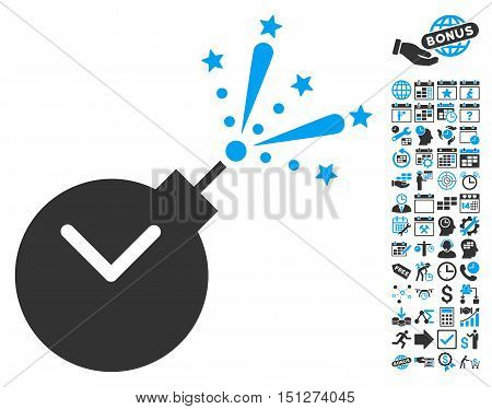 Time Fireworks Charge pictograph with bonus calendar and time management pictures. Glyph illustration style is flat iconic bicolor symbols blue and gray colors white background.