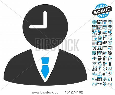 Time Manager pictograph with bonus calendar and time management images. Glyph illustration style is flat iconic bicolor symbols blue and gray colors white background.