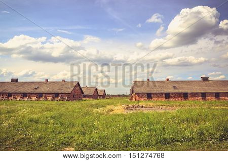 OSWIECIM POLAND - MAY 12 2016: Brick blocks concentration camp Auschwitz Birkenau II in Brzezinka Poland.
