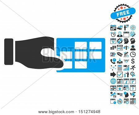Timetable Properties Hand icon with bonus calendar and time management graphic icons. Glyph illustration style is flat iconic bicolor symbols blue and gray colors white background.