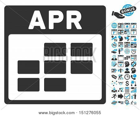 April Calendar Page pictograph with bonus calendar and time management pictograph collection. Glyph illustration style is flat iconic bicolor symbols blue and gray colors white background.