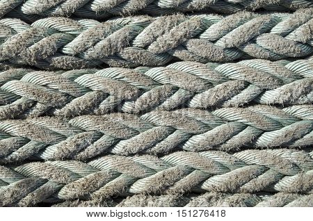 Old green ropes closeup in sunny day