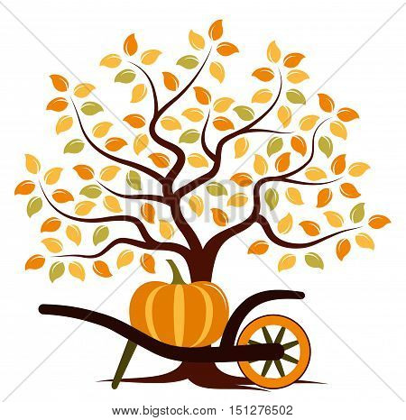 vector autumn tree and hand barrow with pumpkin isolated on white background