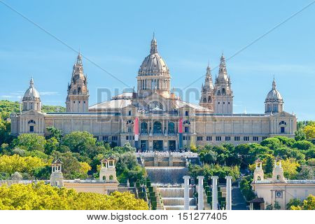 National Palace of Arts on the hill of Montjuic in Barcelona. Catalonia.