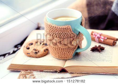 Cup Of Tea On Windowsill Near The Window