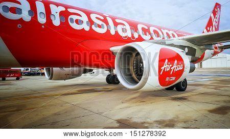 BangkokThailand-October 12016:Jet aircraft of the airline Air Asia flights to fly between Bangkok's Don Muang Airport to Kuala Lumpur Malaysia.