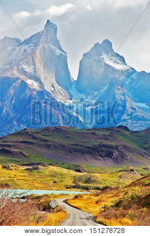 Majestic peaks of Los Kuernos over Lake Pehoe. Summer day in the national park Torres del Paine, Patagonia, Chile