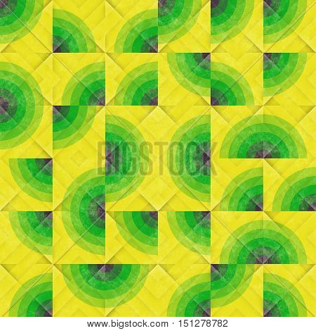 Raster Seamless Green Yellow Irregular Pattern. Abstract Geometric Background Design