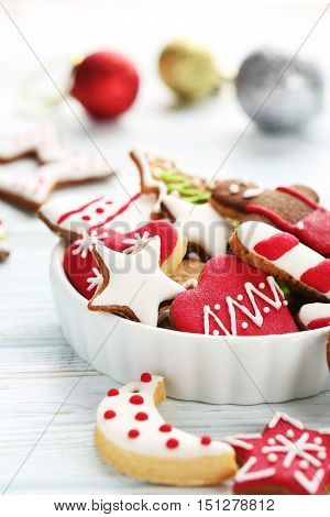 Christmas Cookies In Bowl On A Blue Wooden Table