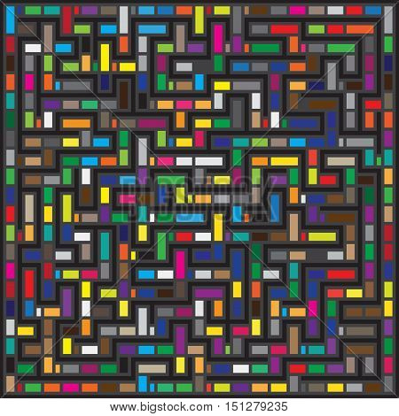 Vector Multicolor Maze Geometric Pattern. Abstract Geometric Background Design