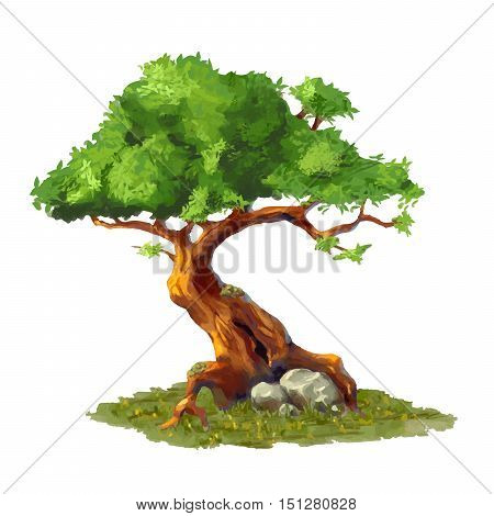 Cute cartoon tree on grass game art element isolated on white