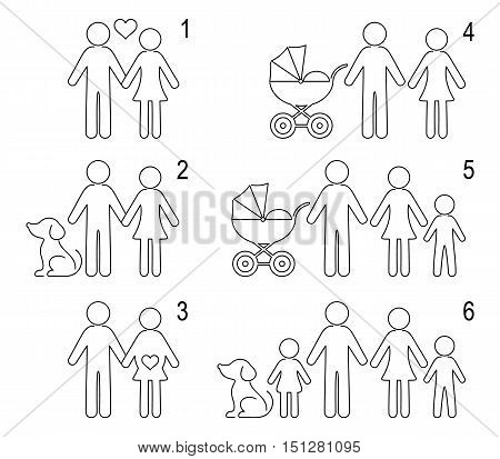 Thin line people icons couple dog baby family