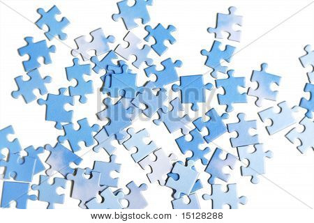 Blue Puzzle Pieces, Isolated