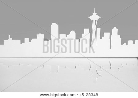 Abstract Cutout Paper Silhouette Of Seattle City, Usa