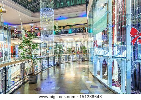 PRAGUE, CZECH REPUBLIC - DECEMBER 10, 2015: Interior of Palladium mall decorated for Christmas holidays - 5 floors shopping centers in Prague with 184 shops and 23 restaurants.