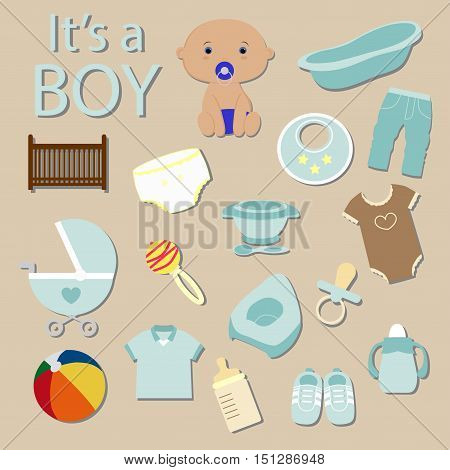cute baby elements it's a boy. a big collection of icons. postcard Template for greetings and invitation. Baby shower and arrival. Baby vector illustration