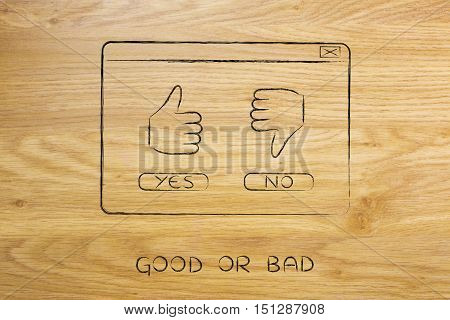 Yes Thumbs Up Or No Thumbs Down, Pop-up Illustration