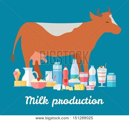 Traditional dairy products from cows milk. Different dairy products near brown cow on blue background. Natural farm food concept. Assortment of dairy products. Vector illustration in flat style.