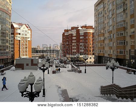 Winter cityscape. The pedestrian zone in the new residential area. A panorama from the top point. In Yekaterinburg in 2018 will pass the soccer World Cup