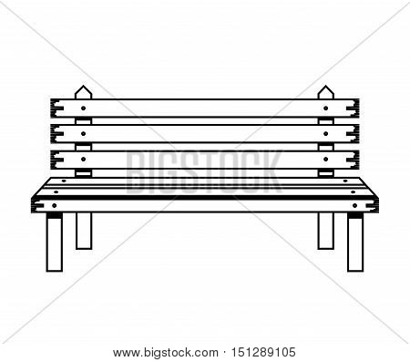 wooden chair in park with legs vector illustration