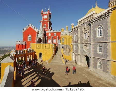 SINTRA, PORTUGAL - September 30, 2016: National Palace of Pena (Palacio Nacional da Pena). Palace is one of the biggest attraction of Sintra.