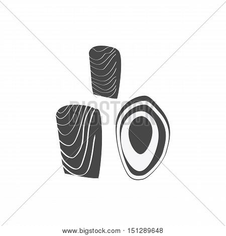 Salmon steak vector monochrome variant. Fresh sea food concept illustration. Healthy eating marine products.