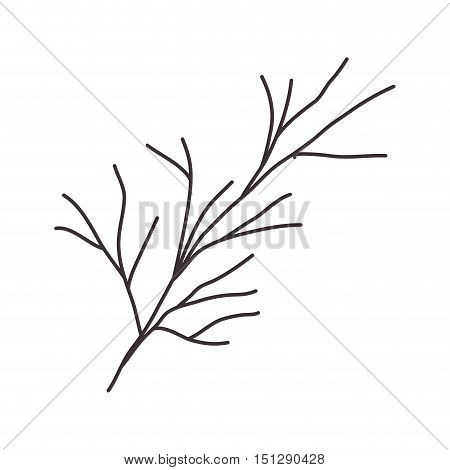 stem silhouette drawing with branches vector illustration