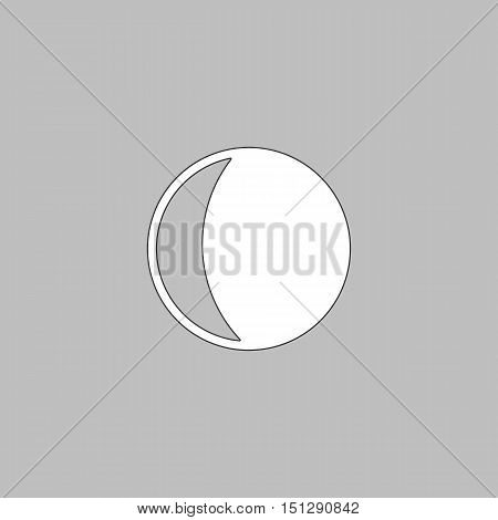 lunation Simple line vector button. Thin line illustration icon. White outline symbol on grey background