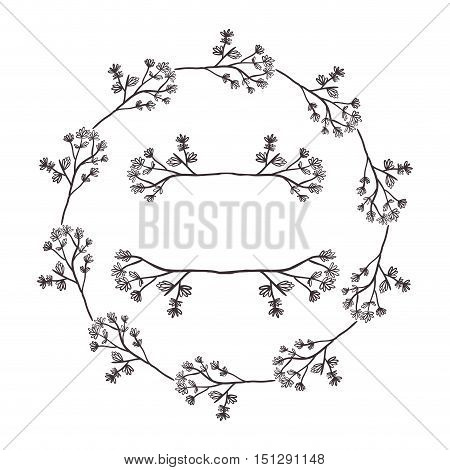 circular form branchs with flowers inside vector illustration