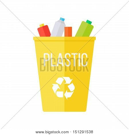Yellow recycle garbage bin with plastic. Reuse or reduce symbol. Waste recycling. Environmental protection. Vector illustration.