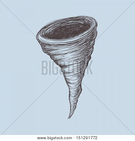 Tornado.Hand drawn style.Isolated on white background.Vector illustration