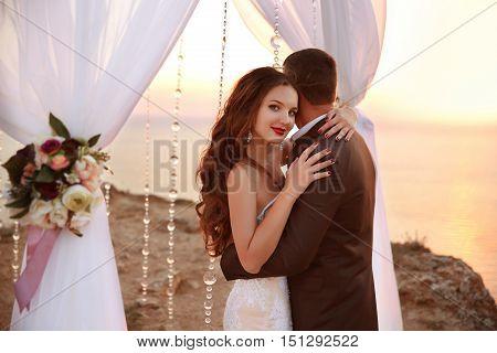 Wedding Portrait Of Beautiful Smiling Bride And Groom Under Wedding Archway. Newlyweds Hugs And Danc