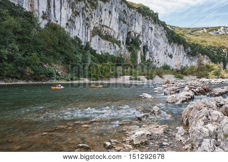 Pont d'Arc France - September 19 2016: Kayakers on the river Ardeche in France.