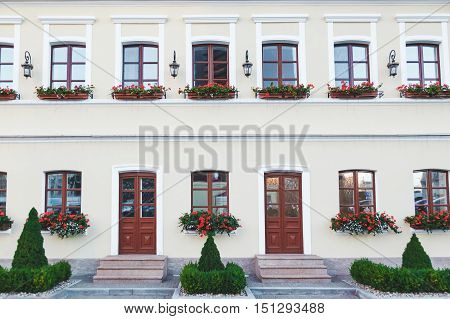 Beautiful facade of the european classical townhouse