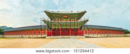 The Second Inner Gate Heungnyemun. Gyeongbokgung Palace. Seoul. South Korea. Panorama
