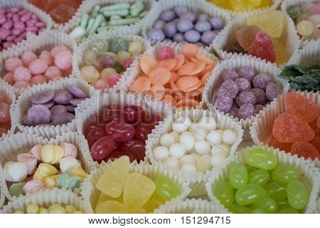 Many bonbons exposed in a confectionery shop