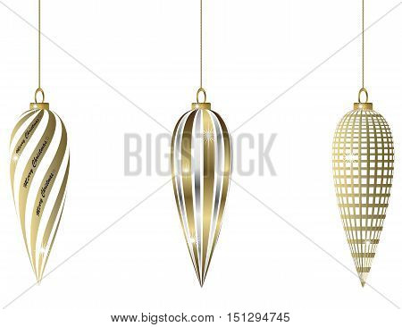 three oval golden christmas balls hanging in chains