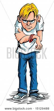 Cartoon Sulky Teenager Wearing Jeans And T Shirt