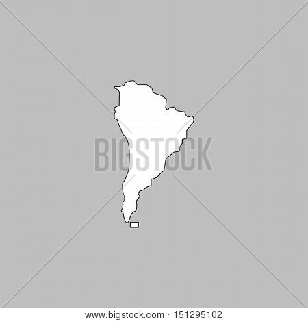 South america Simple line vector button. Thin line illustration icon. White outline symbol on grey background