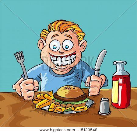 Muchacho de dibujos animados, comer hamburguesas y papas fritas ...