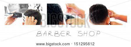 Barber Man Hair clipper cut his customers three acting.