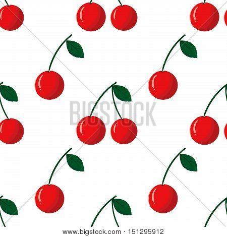 Seamless pattern with red cherry on white background. Vector outline illustration. Sweet juicy fruit. Ripe berry. Ideal for greeting card design restaurant menu cover textile print web design wrapping scrap booking. Repeatable food texture.