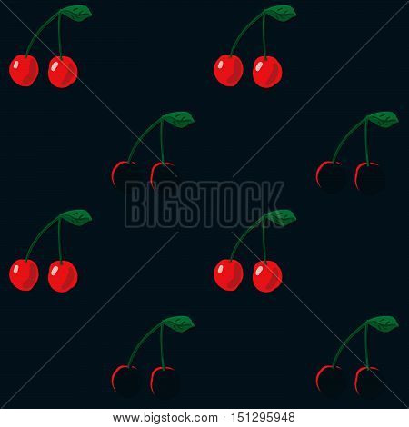 Vector seamless pattern. Red cherry on dark background. Repeatable food texture. Ideal for wallpaper greeting card design restaurant menu cover textile print web design wrapping decor scrap booking. Juicy fruit. Sweet ripe berry.
