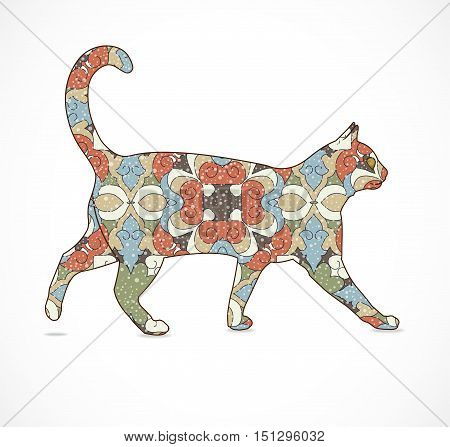 Abstract colorful isolated cat. Illustration 10 version.