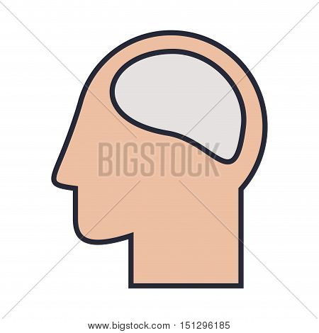 Silhouette head and human brain colorful vector illustration