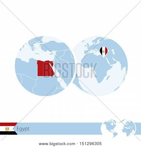 Egypt On World Globe With Flag And Regional Map Of Egypt.