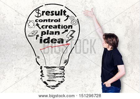 Side view of casual caucasian guy showing creative light bulb drawn on concrete background. Business idea concept